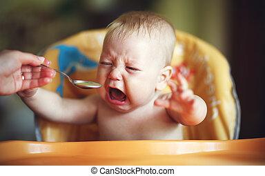 grito, bebê, refugo, comer, caprichoso
