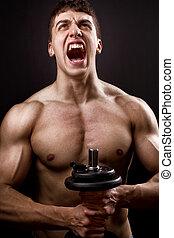 grito, de, poderoso, muscular, bodybuilder