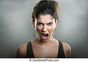 grito, de, zangado, transtorne, mulher