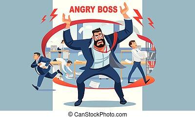 gritos, caos, enojado, subordinates, el suyo, jefe