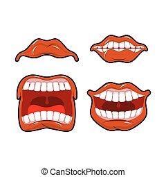 gritos, conjunto, gritos, dissatisfied., reír., laugh., labios, grito, joy., emotions., grito