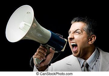 gritos, director, orador, fuerte, retrato