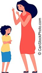 gritos, madre, problems., daughter., viragos, mujer, conflicto, niño, familia , abuse., abusar, infeliz, ilustración, niño, triste, padre, vector, niña