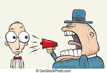 gritos, megáfono, hombre
