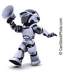gritos, megáfono, robot