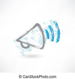 gritos, megaphone., caricatura, icon., cepillo
