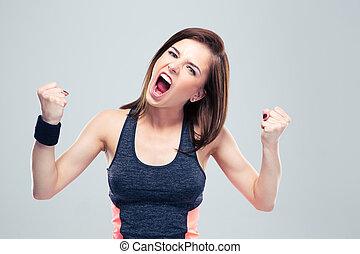 gritos, mujer enojada, joven, deportes