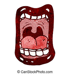 gritos, símbolo, boca, caricatura