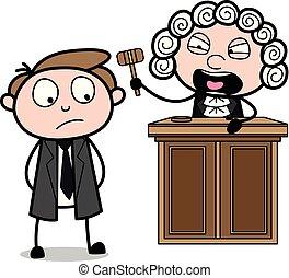 gritos, vector, abogado, ilustración, magistrado