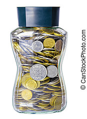 Grivna Coins in a Glass Jar
