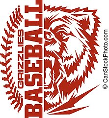 grizzlies baseball team design with stitches and half mascot...