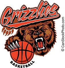 grizzlies basketball team design with bear mascot and...