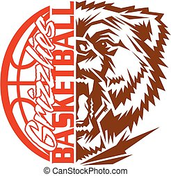 grizzlies basketball team design with mascot and ball for...