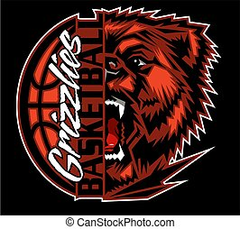 grizzlies basketball team design with half mascot and ball...