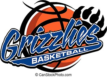 grizzlies basketball team design with large bear claw and ...