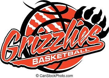 grizzlies basketball team design with large bear claw and...