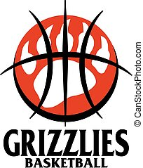 grizzlies basketball team design with large bear claw inside...