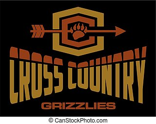 grizzlies cross country team design with bear claw for...