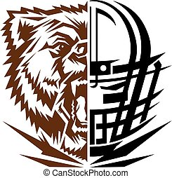 grizzlies football team design with mascot and facemask for...