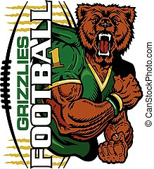 grizzlies football team design with muscular mascot for...