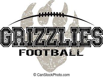 grizzlies football - distressed grizzlies football design...