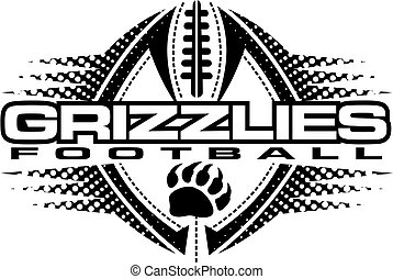 grizzlies football team design with claw print and ball for...