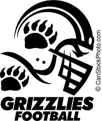grizzlies football team design with helmet and claw print