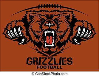 grizzlies football team design with roaring mascot for...