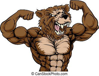 grizzly, animal, mascotte
