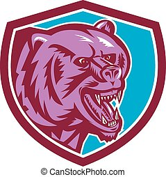 Grizzly Bear Angry Head Shield Retro