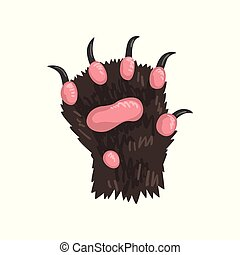 Grizzly bear animal paw vector Illustration on a white background