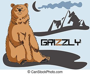 Grizzly bear background. Vector