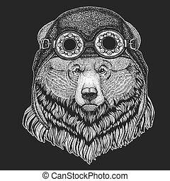 Grizzly bear Big wild bear Hand drawn image for tattoo, t-shirt, emblem, badge, logo, patch Cool animal wearing aviator, motorcycle, biker helmet.