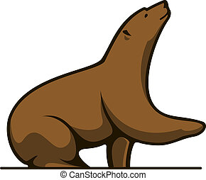 Grizzly bear sitting looking up in cartoon mascot style