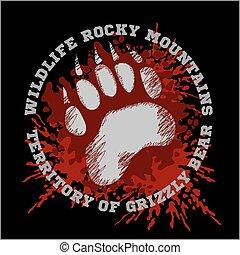 Grizzly Bear footprint emblem - vector illustration -...
