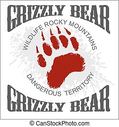 Grizzly Bear footprint emblem - vector illustration