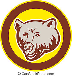 Grizzly Bear Head Circle Retro