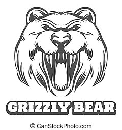 Grizzly bear head logo - Bear head logo. Grizzly bear icon...