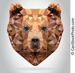 Grizzly Bear head vector isolated geometric illustration -...