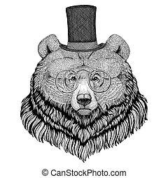 Big Bear Tattoo Illustration Of A Scary Bear Tatto Roaring Stock