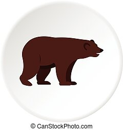 Grizzly bear icon circle