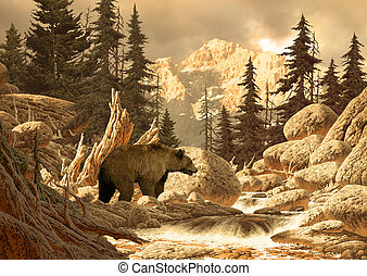 Grizzly Bear - Image from an original 17x24 painting of...