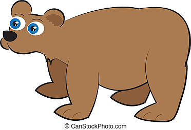 Grizzly Bear - Isolated cartoon brown grizzly bear standing...