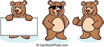 Grizzly Bear Mascot happy, pose and bring board