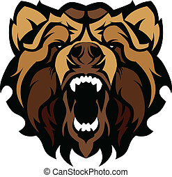 Grizzly Bear Mascot Head Vector Gra