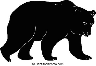 grizzly bear silhouette - illustration - grizzly bear...