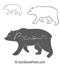 Grizzly Bear silhouette shape logo isolated