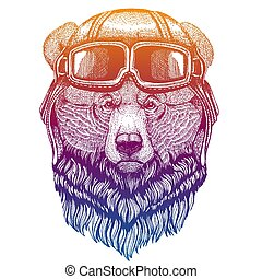 Grizzly bear wearing vintage aviator leather helmet. Image in retro style. Flying club or motorcycle biker emblem. Vector illustration, print for tee shirt, badge logo patch