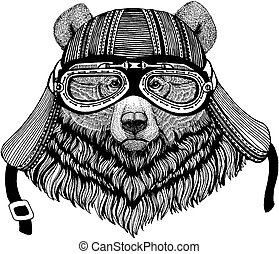 Grizzly bear Wild biker animal wearing motorcycle helmet. Hand drawn image for tattoo, emblem, badge, logo, patch, t-shirt.