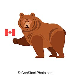 flat design grizzly bear with canadian flag icon vector illustration